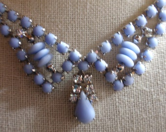 Costume Baby Blue and Rhinestone Necklace