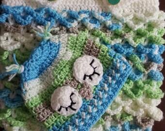 HandMade Crochet Owl Cocoon with Sleepy eye Beanie