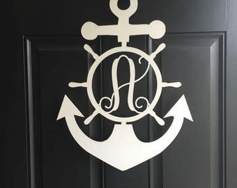"36"" anchor with block lettering ""J"" in navy and red."