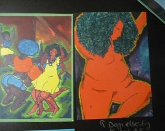 Art print card A5 double sided black feminism, body fat positivity