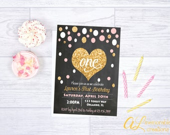 Chalkboard First Birthday Invitation, Pink and Gold Birthday Invitation, Girl First Birthday Invitation, Girl First Birthday, Digital File