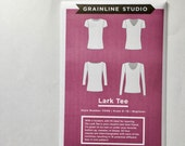 Lark Tee Pattern, Women's T Shirt Pattern, Women's Apparel Sewing, Grainline Studios Pattern, Women's Jersey Top Pattern, DIY Women's Tee,