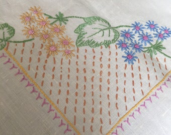 Small Hand embroidered new vintage table cloth pale lemom linen