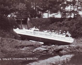 Vintage Duck in Wisconsin Dells at Dell Creek Unused Post Card. Printed on Kodak Photo Paper