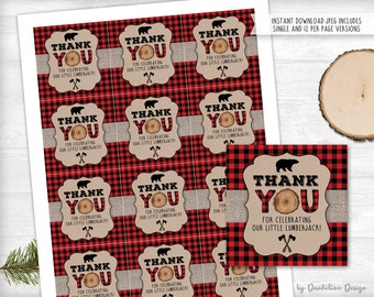 Lumberjack Thank you Tag Printable Instant Download