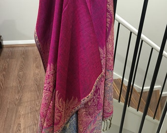 Pashmina big Paisley thicker Pink