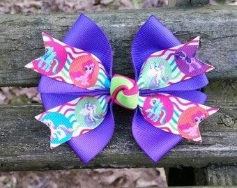 "Purple ""My little pony"" Hair Bow (4 inch)"