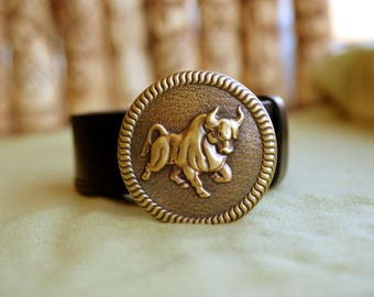 Leather belt with Solid Bronze buckle. Bull Taurus Zodiac Symbol. Bronze And Pure Leather.