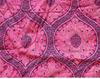 Vintage Bedspread, Pink, Black and Metallic Gold Moroccan Tile Pattern, Mid Century, Mod, Skirt, Florentine, Dark Pink Bedspread