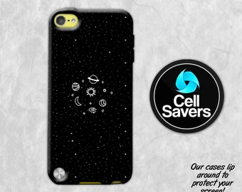 Space Sketch iPod 5 Case iPod 6 Case iPod 5th Generation iPod 6th Generation Rubber Case Gen Black White Space Sketch Sun Moon Stars Planets