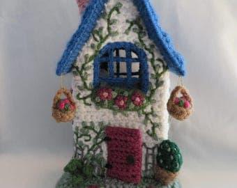 Crochet Fairy House, Handmade OOAK