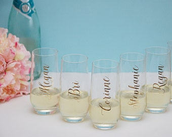 Vinyl Name Decal Elegant, Name Sticker, Wedding Decal, Bridesmaid Gift, Personalized Name Decal, Personalized Champagne Glass, Wedding Gift