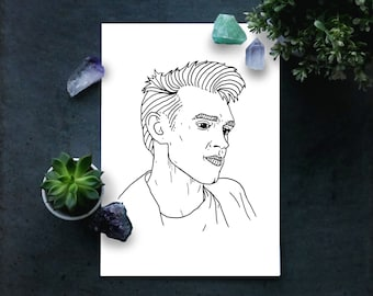 Morrissey A4 illustrated print Black & White