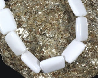 1 Strand Genuine White Agate, 14x10 mm Smooth beads, Rectangle Side Drilled Beads, DIY, Necklace, Crystal Healing