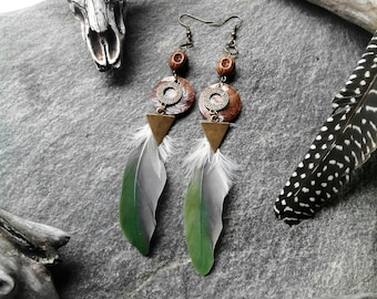 Earrings green and grey, feathers Brown Shell, bronze, ethnic, tribal triangle