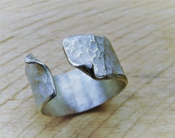 Ring open wave silver