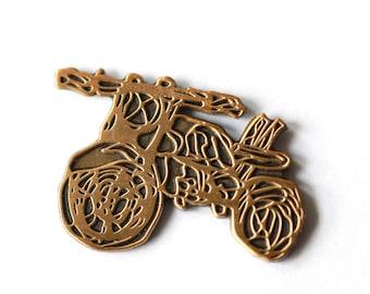 Scribble Motorcycle Pin // Die Cut Enamel Pin // Gold // Accessories // Flair
