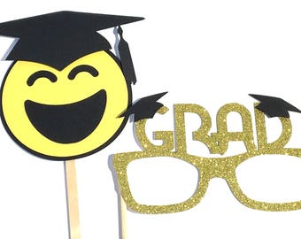 Photo Booth Props - 2PC Graduation Glasses & Emoji Photo Booth Props