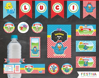 Gallina Pintadita / Lottie Dottie Party / Galinha Pintadinha / Picnic Party / Lottie Dottie Banner / Lottie Dottie Printable / Farm Party