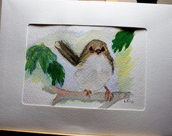 Greeting Card, Blank Card, Original Watercolor Card, Hand Painted Card, Baby Bird