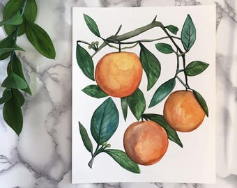 Orange Blossom // ORIGINAL Gouache painting 8 x 10 inch