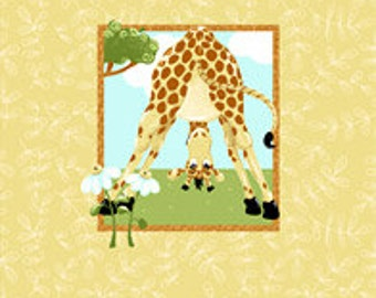 "Zoe the Giraffe Pillow Panel 15"" from Susybee SB20055-430 susy bee quilting cotton woven fabric character kids safari susy bee cartoon"