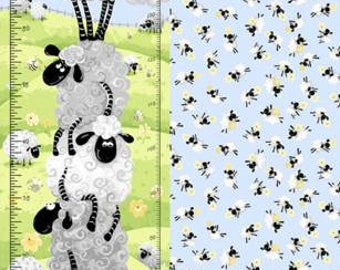 "Lewe the Ewe Growth Chart Panel 30"" from Susybee SB20050-710 susy bee quilting cotton woven fabric character kids lamb susy bee sheep"