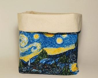 Starry Night, fabric basket, storage basket, Starry night fabric,  starry night sky, starry night van gogh, van gogh, storage, organization
