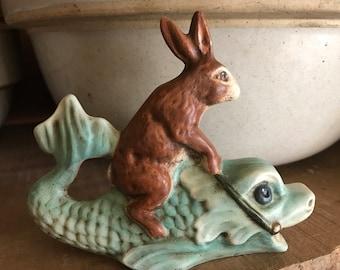 "Primitive Chalkware Rabbit on Fish 5"""