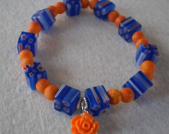 Stretch bracelets of millefiori and polymer beads with charm, blue and orange