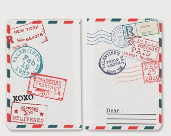 Stamp passport holder, personalized passport cover, leather passport holder, passport wallet,personalized gifts,cute passport cover for her