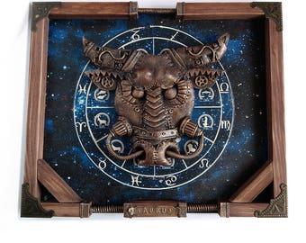 Steampunk taurus Taurus Zodiac Art Steampunk panel Wall decor Taurus star sign Taurus gift Gears constellation Zodiac gift steampunk decor