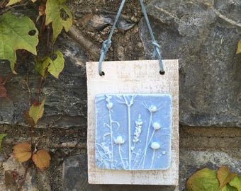 Rustic clay wall hanging, art, plaque, imprint of natural seed heads, mounted on reclaimed wood, wall hanging