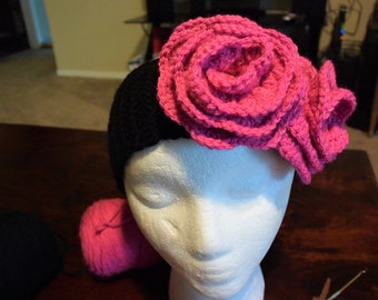 Flower headband, Flower ear warmer, Pink headband, Pink ear warmer, Crochet ear warmer, Crochet headband, Handmade headband, Diadema tejida