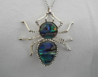 Rhinestone And Abalone Spider Necklace #160