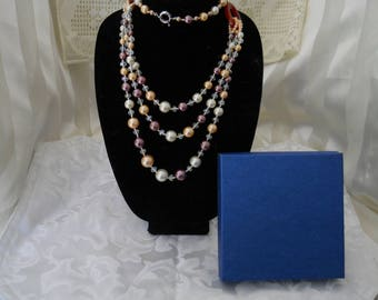 Glass Crystal And Pearl Necklace #203