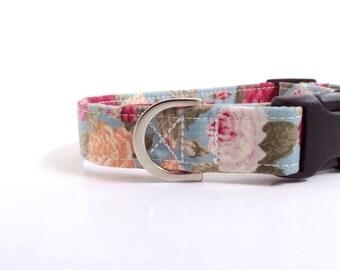 Medium English Rose Dog Collar | Girl Dog Collar | Puppy Collar | Dog Collar | Floral Dog Collar | Small Dog Collar | Large Dog Collar |