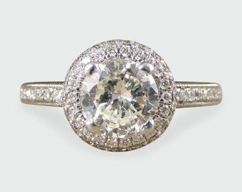 Contemporary Diamond Halo Engagement Ring in 18ct White Gold