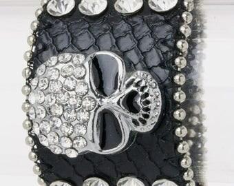 Genuine Leather Skull Bling Bracelet