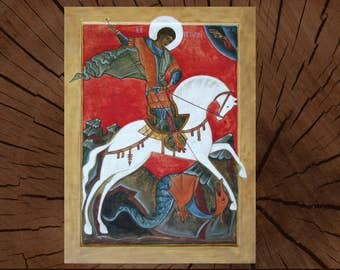Saint George Victorious Orthodox Icon - Miracle of George over Serpent - Great Martyr Kills Serpent - Byzantine Art Painted Wood Egg Tempera