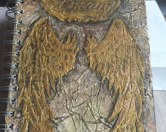 hard cover mixed media angel wings  line writing book