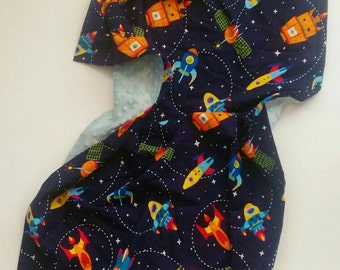 Rocket Baby Blanket, Spaceship Cotton Baby Blanket, Space Cotton Lovey, Cotton Baby Blanket, Minky Baby Blanket, Baby Blanket Boy
