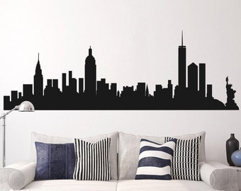 New York   NY Skyline Decal   Cityscape Wall Decal   New York Silhouette  Wall Mural Part 65