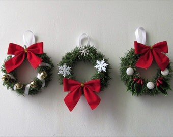 Handmade Miniature Wreath Ornaments, featuring Assorted Decorations and Bows, set of 3