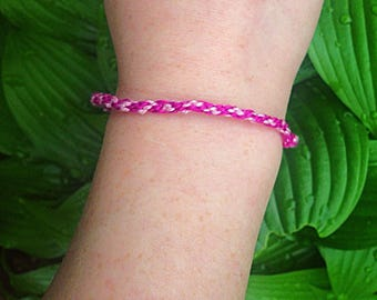 Pink and white friendship bracelet - handmade