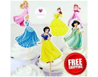 24 Princess  Cupcake Toppers Set. **Free Shipping**