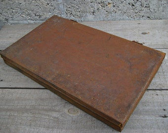 Vintage metal box/ industrial metal box/tool box/loft/ slide storage case/box handmade/rusty box