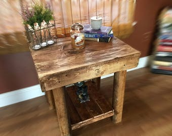 Handcrafted end table with a rustic feel