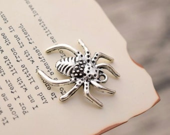 20 antique silver spider charms charm pendant pendants  (YY02)