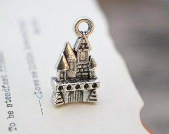 20 antique silver castle charms fairy tale charm pendant pendants  (L02)
